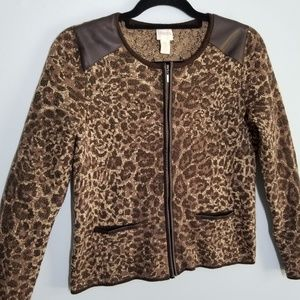 Chico's leopard print sweater size 0 faux leather
